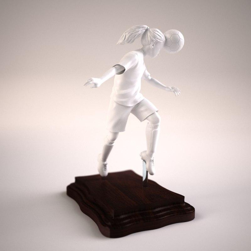girl soccer player statue model