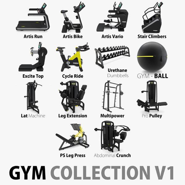 14 gym equipments 3D model