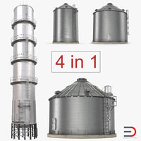3D model grain storage bins