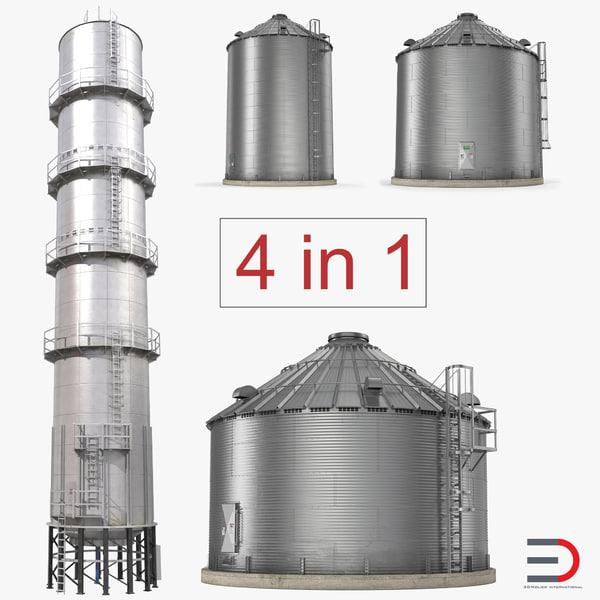 3D model grain storage bins