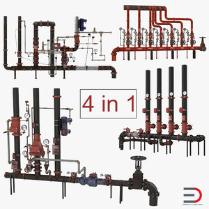 3D industrial pipes