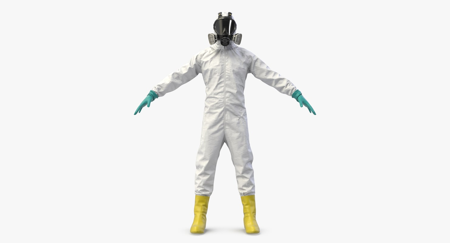 3D white hazmat worker clothes