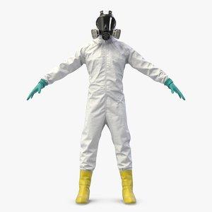 3D white hazmat worker clothes