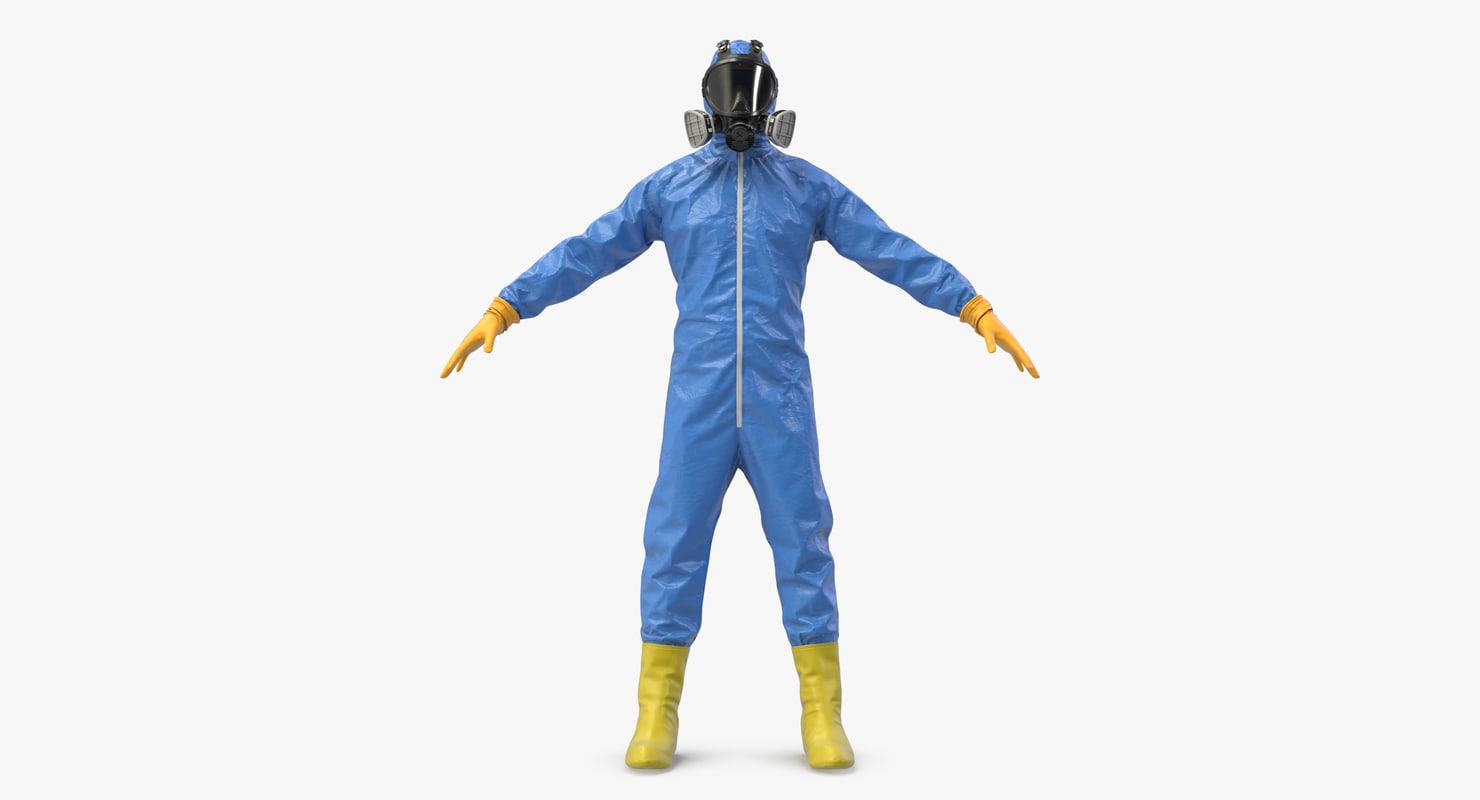 blue hazmat worker clothes 3D model