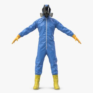 blue hazmat worker clothes 3D model