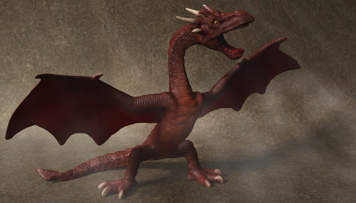 3D red dragon rigged