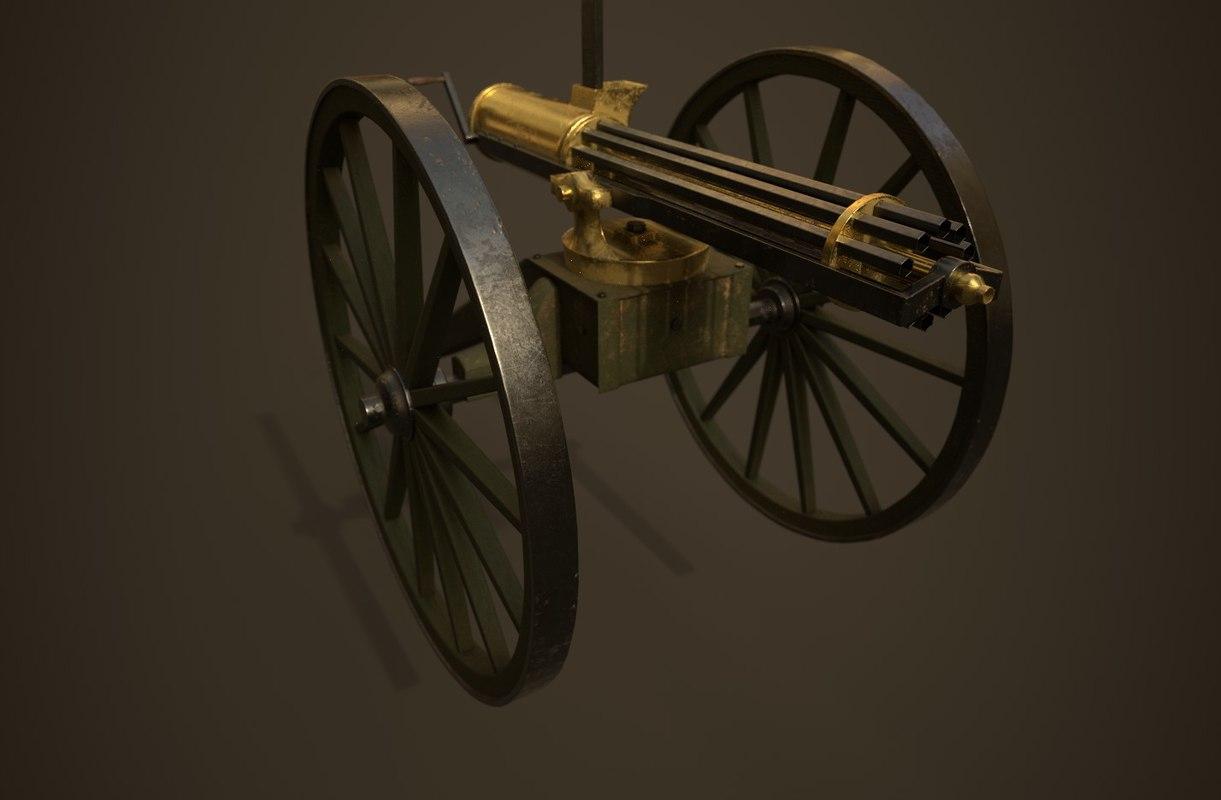 colt gatling gun 3D model