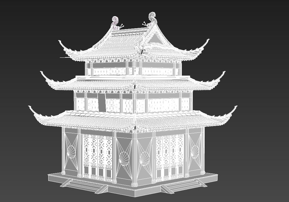 old chinese house temple 3D model