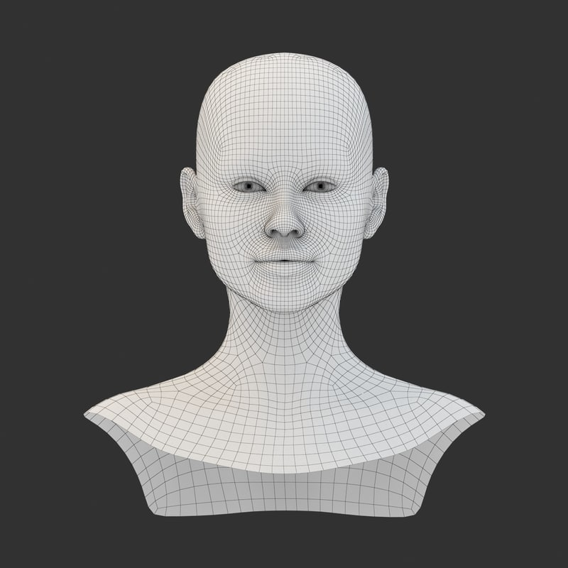 3D female head base mesh model