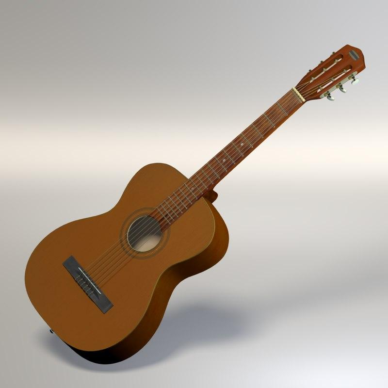 3D classic acoustic guitar
