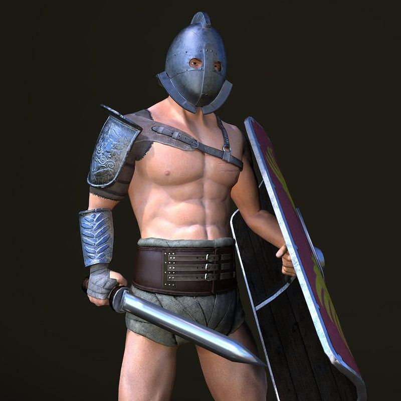 3D gladiator rigged model
