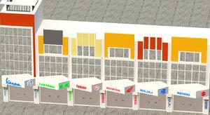 3D pitstop building model