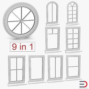 3D windows set interior model