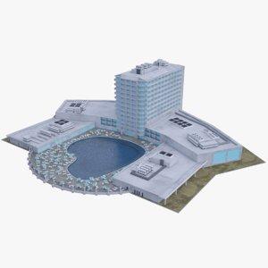 3D beach hotel