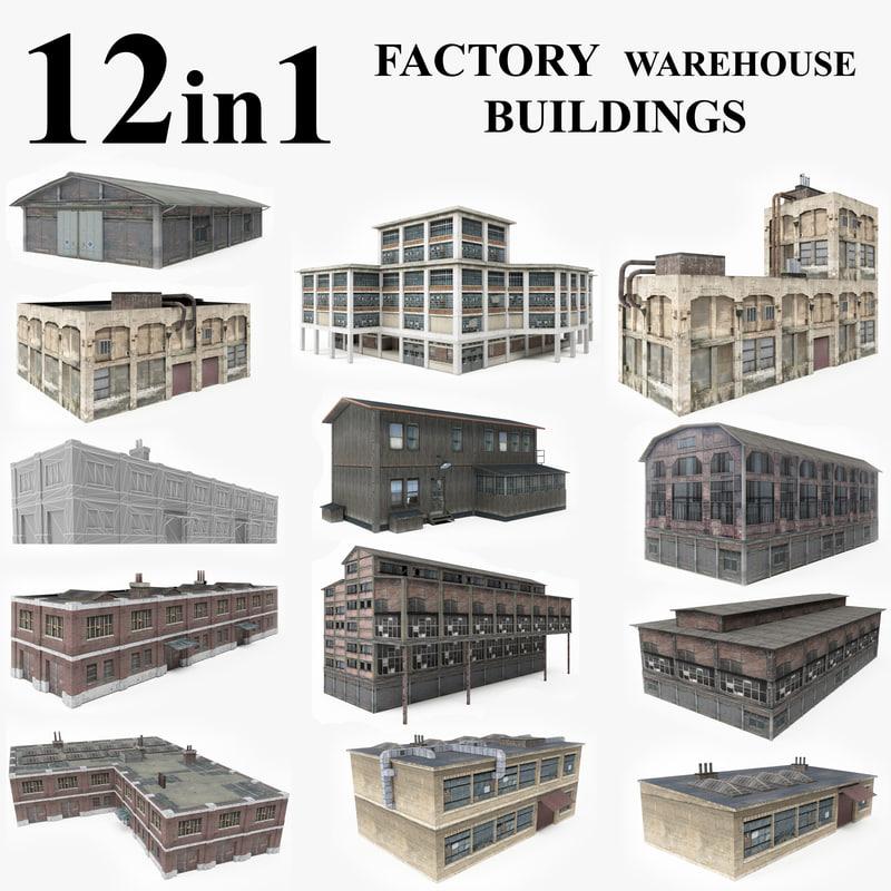 3D model 12 warehouse factory buildings