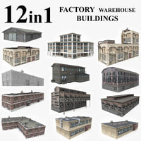 3D model 12 warehouse factory buildings