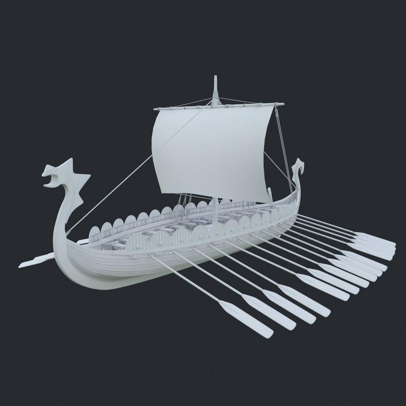 drakkar viking ship model