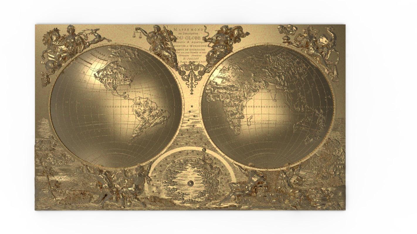 bas relief world mappemonde model