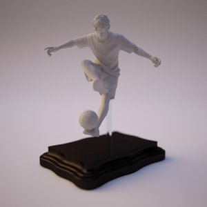 3D freestyle soccer player statue