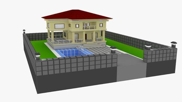 3D house pool
