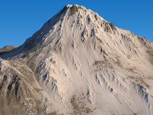 3D model snowy mountain displacement
