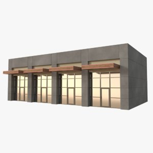 3D model strip mall store unit
