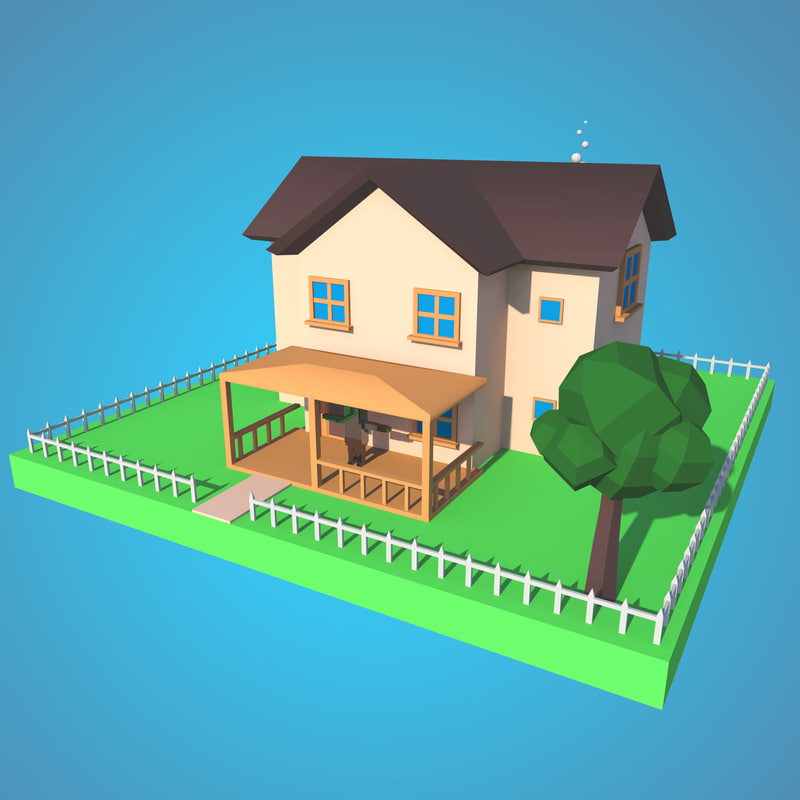 Low Poly House Model With Ground And Fencing