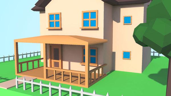 Modele 3d De Modele De Maison Low Poly Avec Terrain Et Cloture Gratuit Turbosquid 1169454