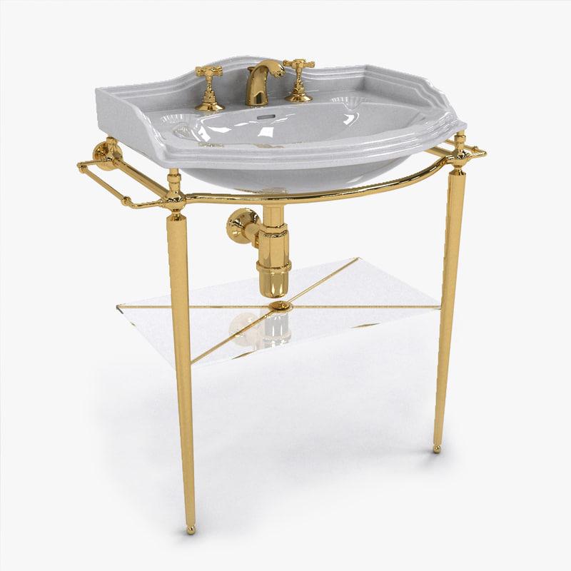 3D vintage gold sink faucet
