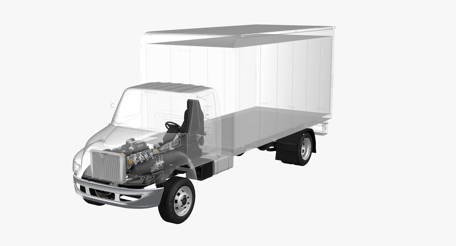 semi truck undercarriage x-ray 3D model