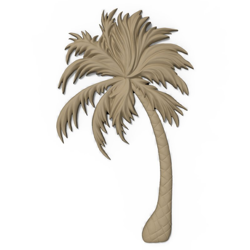 3D model bas relief palm tree