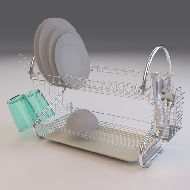 3D dish drainer plates cutlery