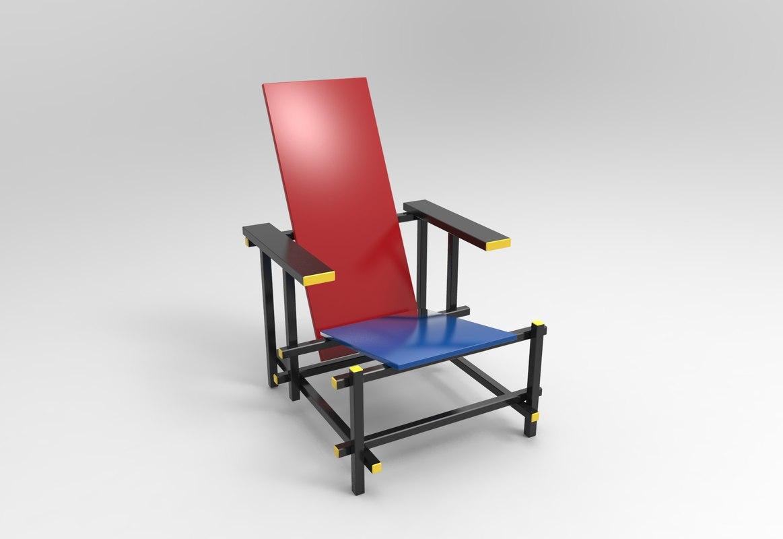 red blue chair gerrit rietveld 3D