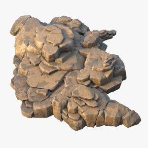 3D realistic rock massif pbr model