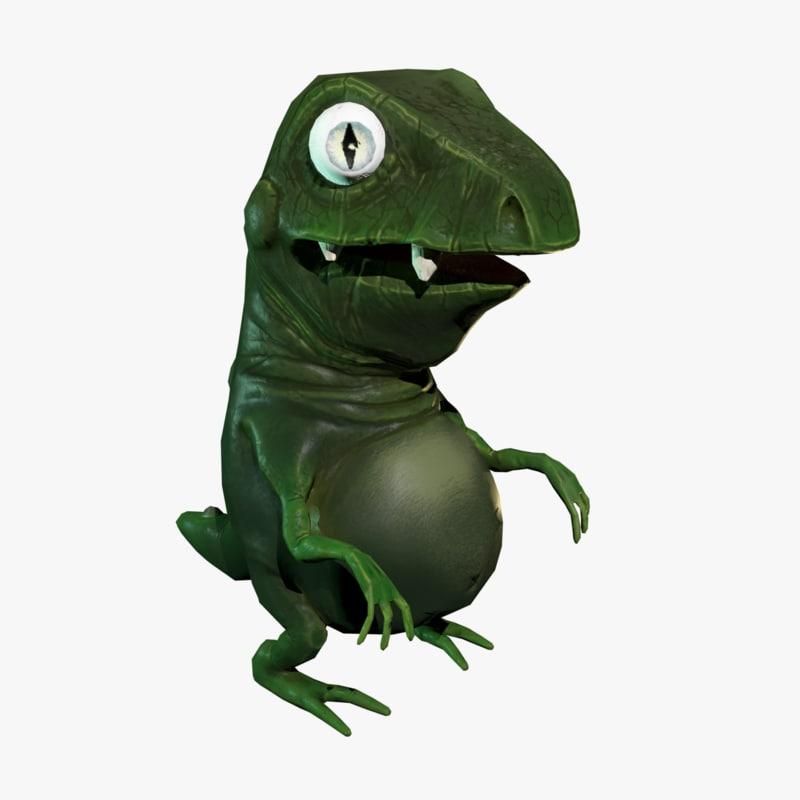 3D model rigged cartoon dinosaur