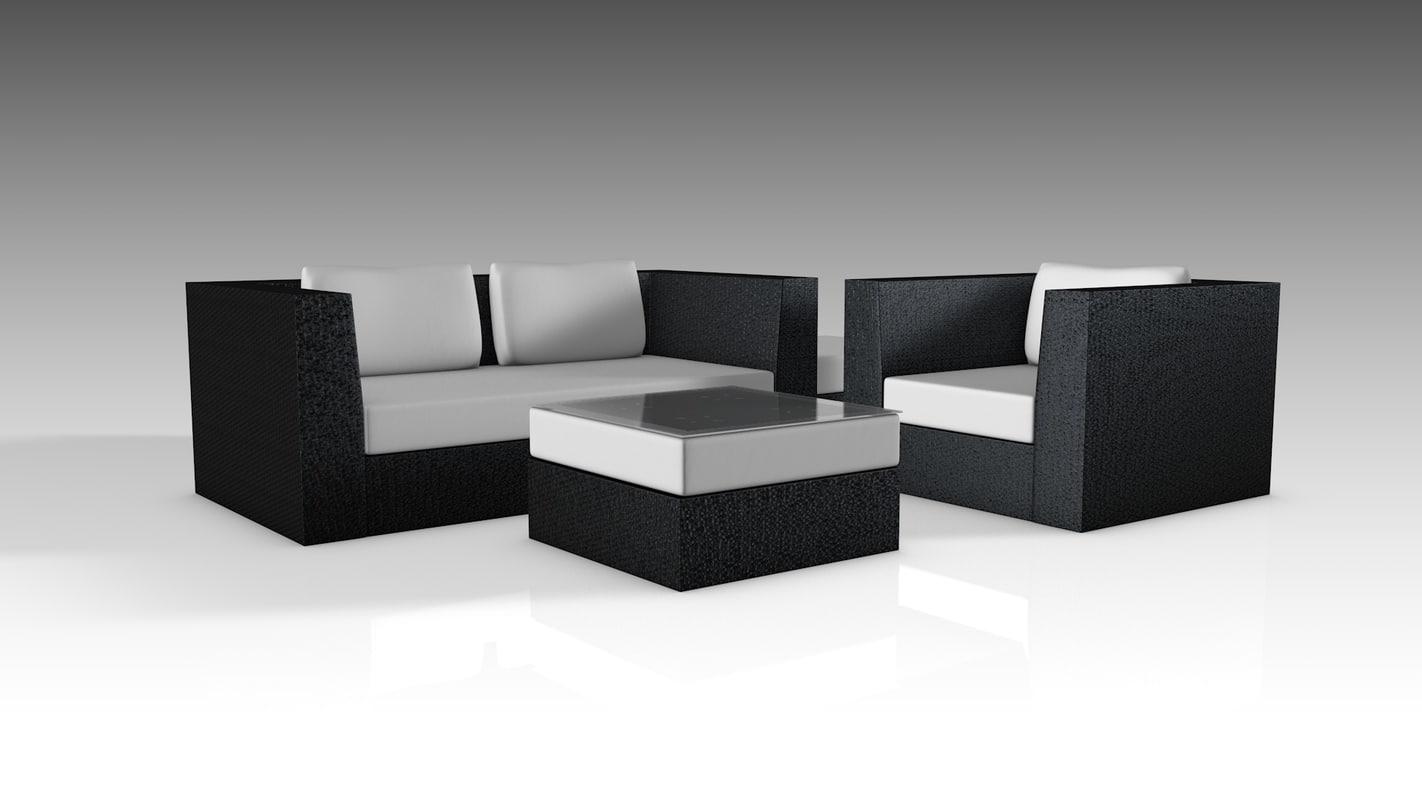 wicker set furniture 3D