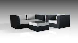 wicker set furniture 3D