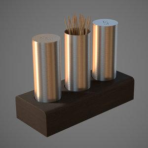 salt pepper toothpick 3D model