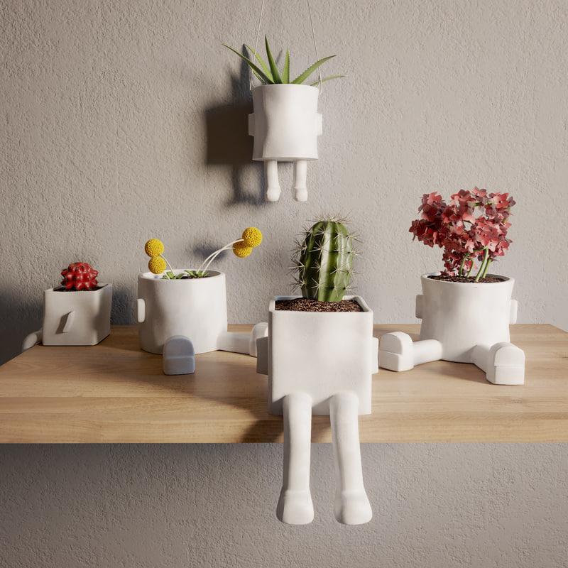 ceramic hanging planter 3D