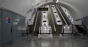 3D undeground escalator scene