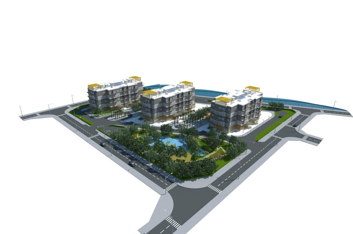 3D model apartment trees