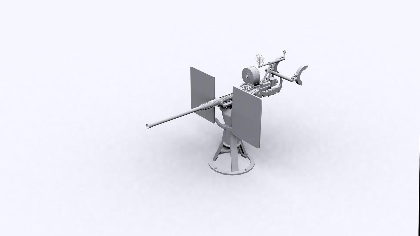 oerlikon 20 mm cannon 3D