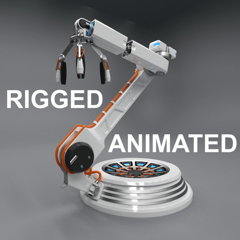 3D futuristic robotic arm rigged