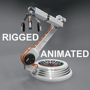 3D futuristic robotic arm rigged