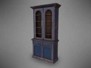 old worn bookshelf pbr model