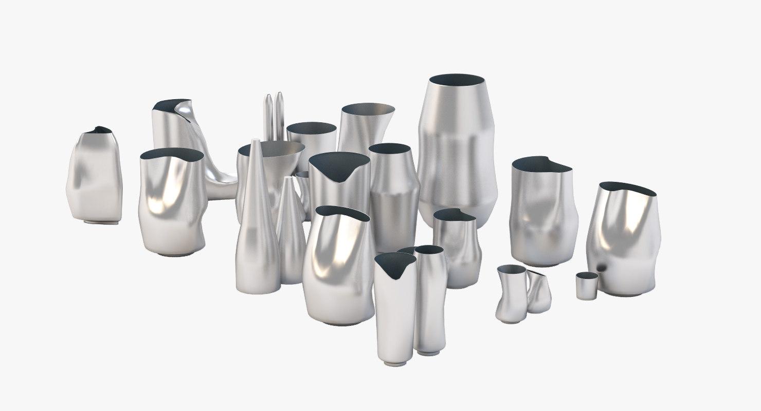 3D random pots showcase model