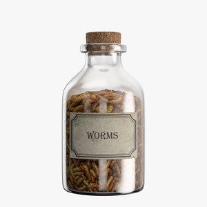bottle worms 3D model
