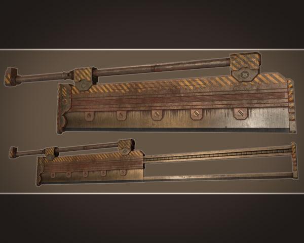 3D fantasy industrial sword extending
