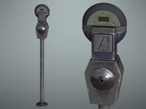 3D pbr old parking meter model