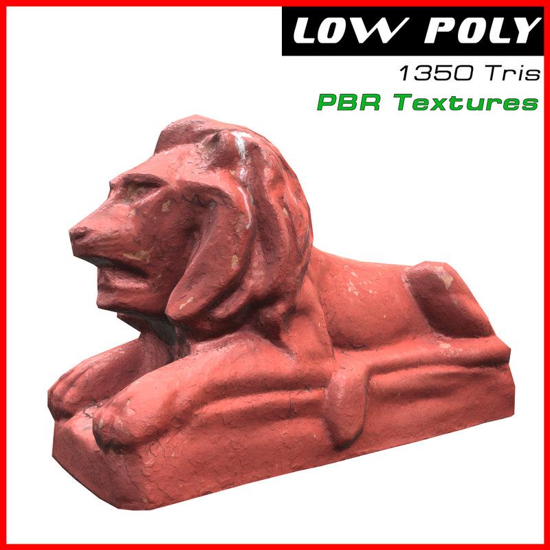 3D sculpture lion